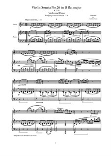 Sonata for Violin and Piano No.26 in B Flat Major, K.378: Score and solo part by Wolfgang Amadeus Mozart