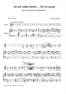 Ah! Non credea: For voice and piano by Vincenzo Bellini