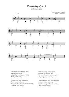 Coventry Carol: For guitar solo (a minor) by folklore
