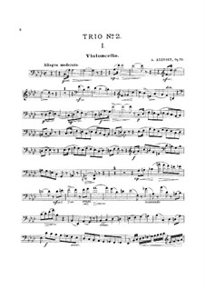 Piano Trio No.2 in A Flat Major, Op.73: Cello part by Anton Arensky