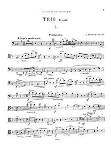 Piano Trio No.1 in D Minor, Op.32: Cello part by Anton Arensky
