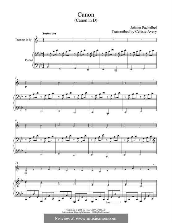 Canon in D Major (Printable): For trumpet and piano by Johann Pachelbel