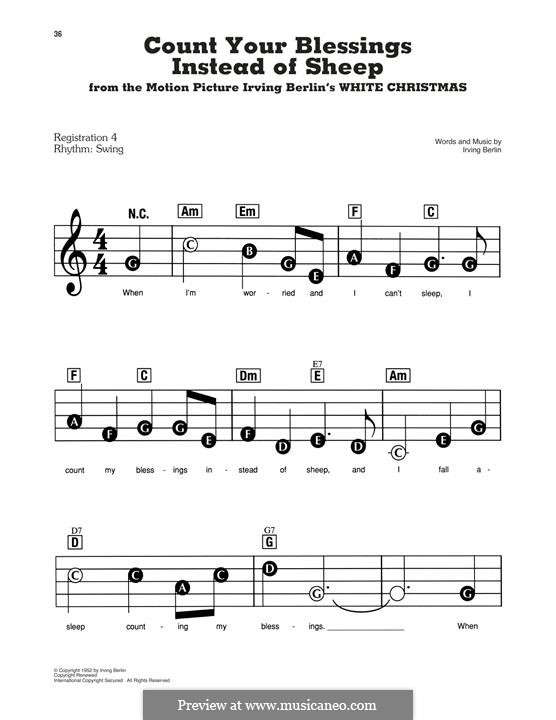 Count Your Blessings Instead of Sheep: For easy piano by Irving Berlin