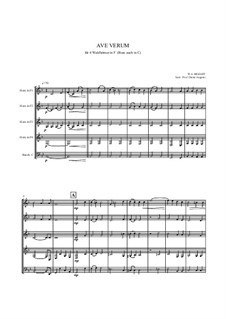 Ave verum corpus, K.618: For quintet horns by Wolfgang Amadeus Mozart