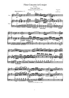 Concerto for Flute and Orchestra No.1 in G Major, K.313: Version for flute and piano – score and solo part by Wolfgang Amadeus Mozart