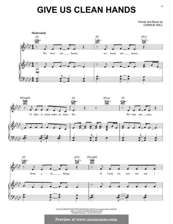 Give Us Clean Hands: For voice and piano (or guitar) by Charlie Hall