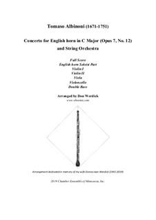 Concerto No.12 in C Major: For english horn and string orchestra by Tomaso Albinoni