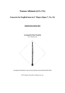 Concerto No.12 in C Major: For english horn and string orchestra – solo part by Tomaso Albinoni