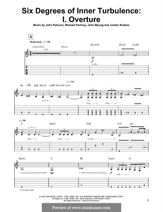 Six Degrees of Inner Turbulence (Dream Theater): I. Overture, for guitar by Mike Portnoy, John Petrucci, John Myung, Jordan Rudess