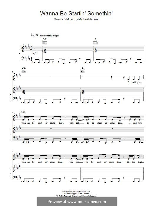 Wanna Be Startin' Somethin': For voice and piano (or guitar) by Michael Jackson