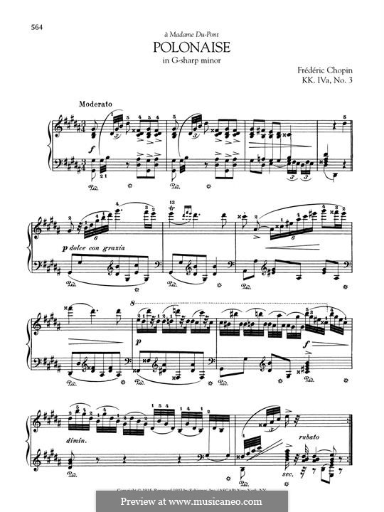 Polonaise in G Sharp Minor, B.6 KK IVa/3: For piano by Frédéric Chopin