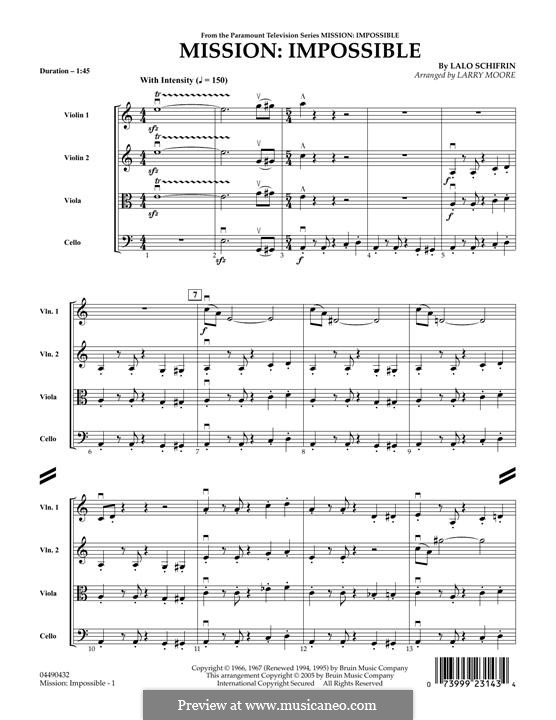 Mission: Impossible Theme: Full score (for strings) by Lalo Schifrin
