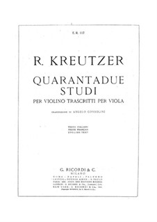 Forty Studies or Caprices for Viola: For a single performer by Rodolphe Kreutzer