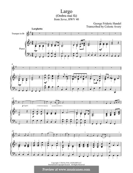 Ombra mai fu: For trumpet and piano by Georg Friedrich Händel