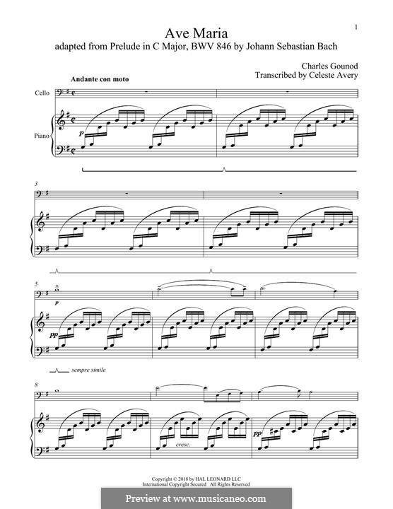 Ave Maria (Printable Sheet Music): For cello and piano by Johann Sebastian Bach, Charles Gounod