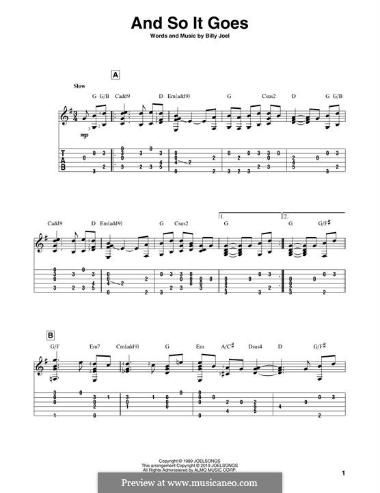 And So It Goes: For guitar with tab by Billy Joel