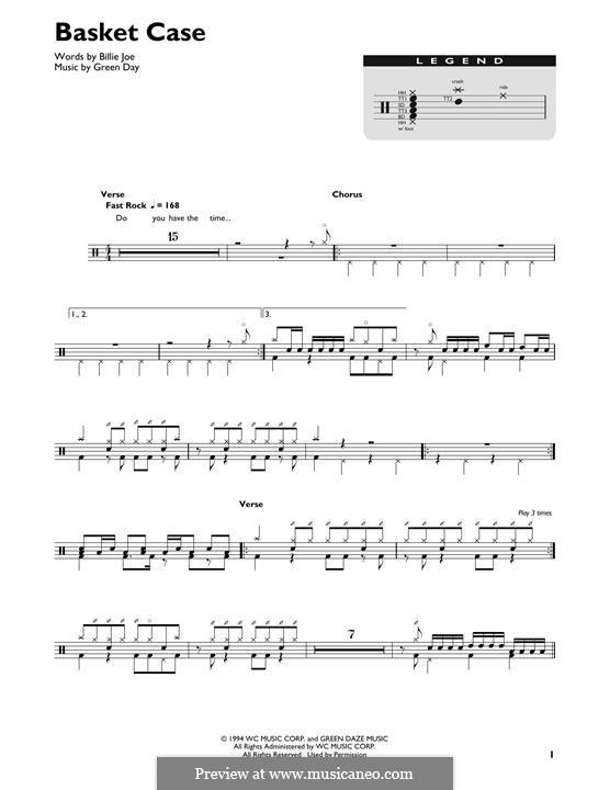 Basket Case (Green Day): Drum set by Billie Joe Armstrong, Tré Cool, Michael Pritchard