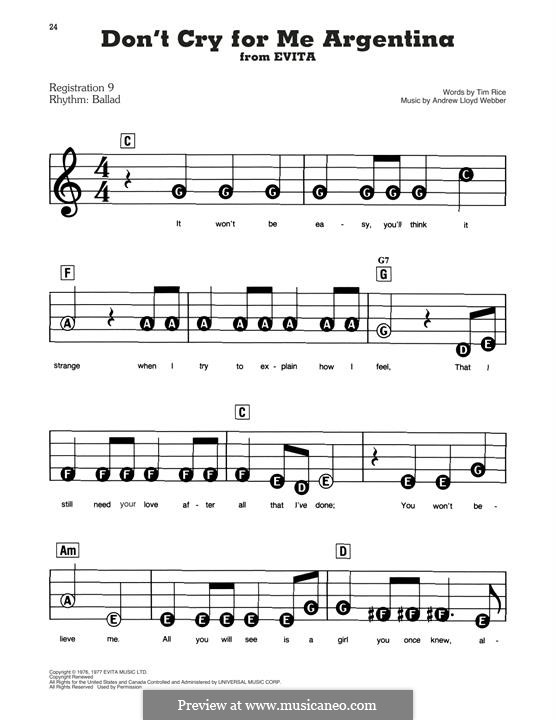 Don't Cry for Me Argentina: For easy piano by Andrew Lloyd Webber