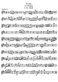 Sonata for Flute and Harpsichord in D Major, H 561 Wq 131: Solo part by Carl Philipp Emanuel Bach