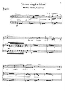 Otello: Nessun maggion dolore. Canzone di Condoliero by Gioacchino Rossini