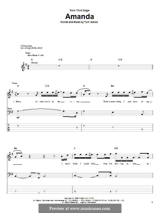Amanda (Boston): For bass guitar with tab by Tom Scholz