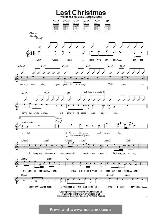 Last Christmas (Wham!): For guitar with tab by George Michael