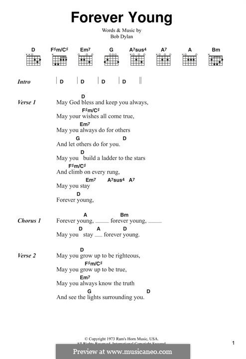 Forever Young I: Lyrics and chords by Bob Dylan