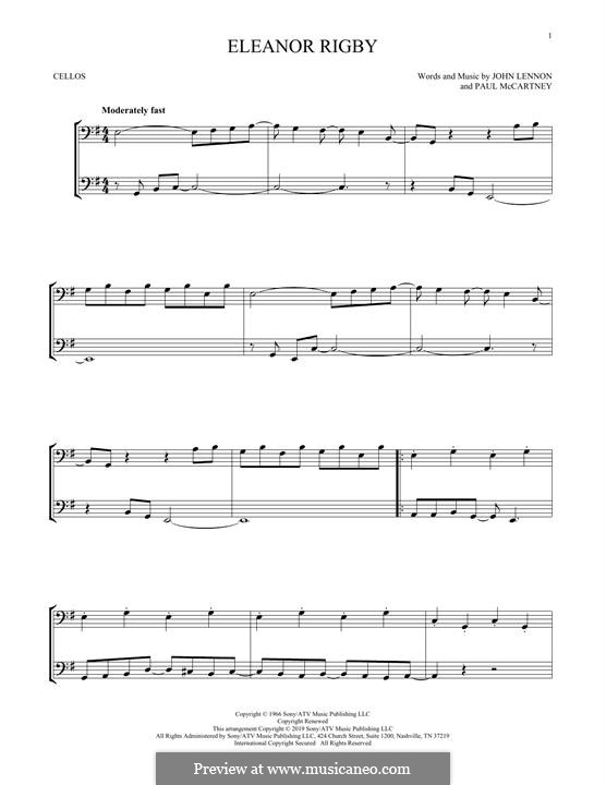 Eleanor Rigby (The Beatles): For two cellos by John Lennon, Paul McCartney