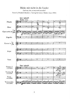 Rückert Lieder: Score for voice and orchestra by Gustav Mahler