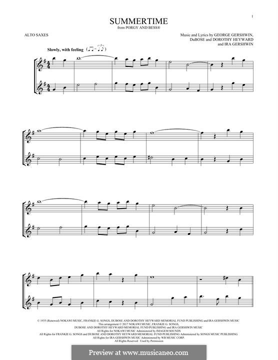 Summertime: For two alto saxophones by George Gershwin