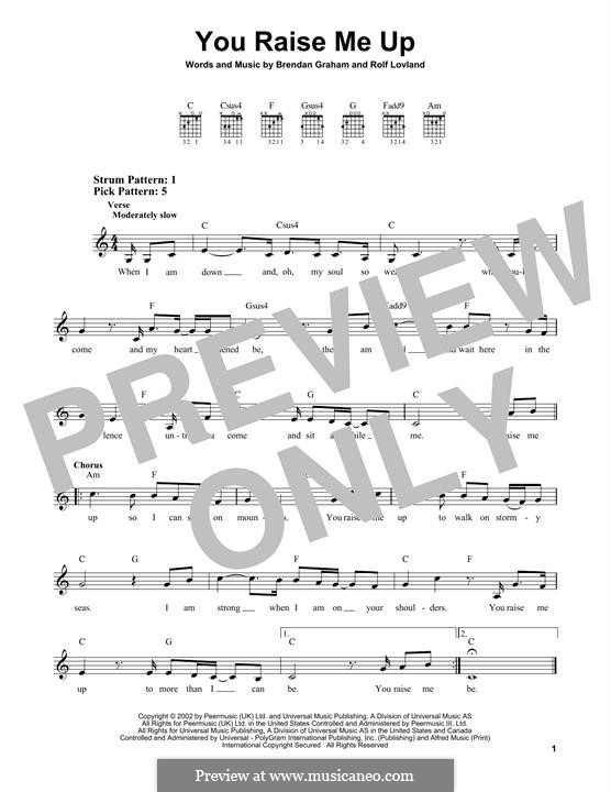 You Raise Me Up: For guitar with tab by Brendan Graham, Rolf Løvland