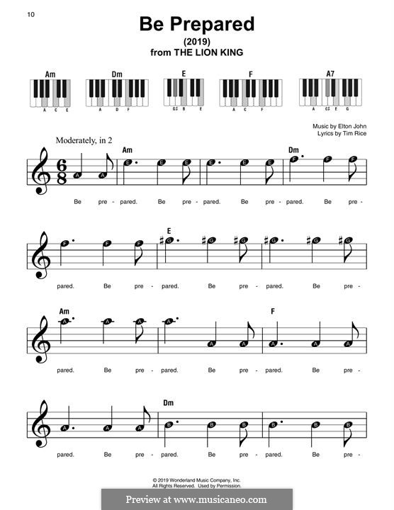 Be Prepared: For piano by Elton John