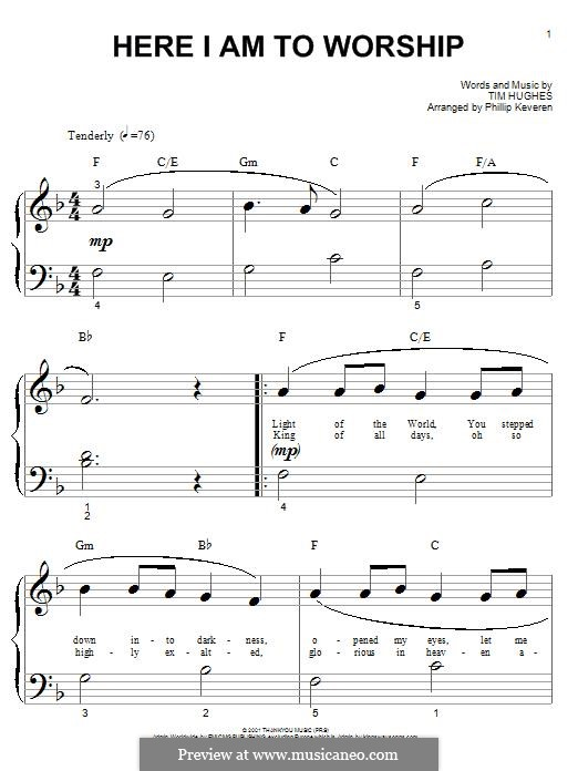 Here I am to Worship (Phillips, Craig & Dean): For piano by Tim Hughes