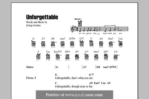 Unforgettable: Lyrics and chords by Irving Gordon