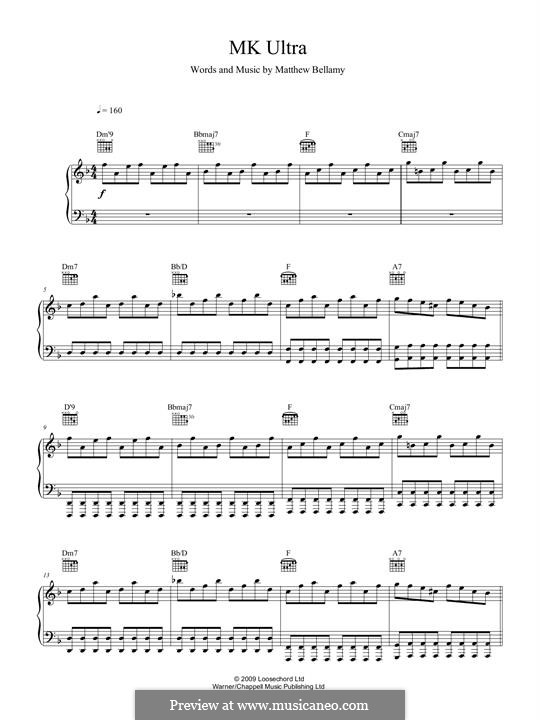 MK Ultra (Muse): For voice and piano (or guitar) by Matthew Bellamy