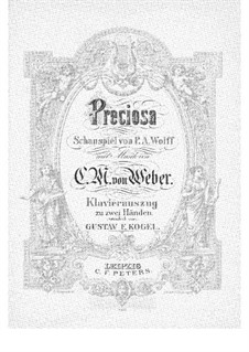 Preciosa, J.279 Op.78: Piano-vocal score by Carl Maria von Weber