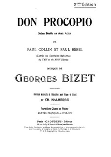 Don Procopio: Piano-vocal score by Georges Bizet