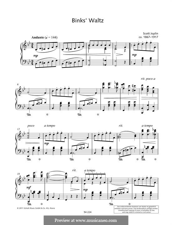 Binks' Waltz: For piano by Scott Joplin