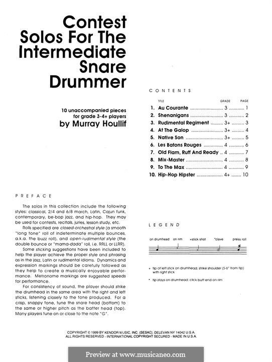 Contest Solos: For the intermediate snare drummer by Murray Houllif