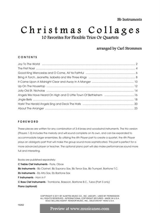Christmas Collages: Bb Instruments part by Georg Friedrich Händel, Felix Mendelssohn-Bartholdy, folklore, James Lord Pierpont