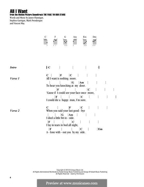 All I Want (Kodaline): Lyrics and chords by Mark Prendergast, Stephen Garrigan, Vincent May, James Flannigan
