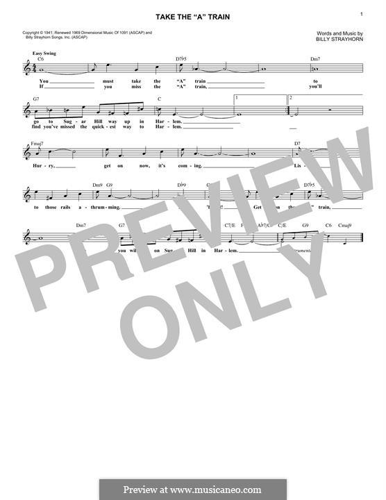 Take the 'A' Train (Duke Ellington): Melody line by Billy Strayhorn