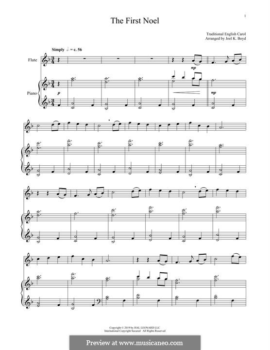 The First Nowell (The First Noël), Printable scores: For flute and piano by folklore