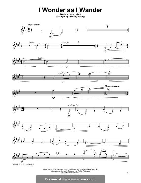 I Wonder as I Wander: For violin by John Jacob Niles