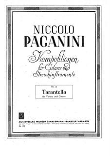 Tarantella for Violin and Guitar, MS 76: Guitar part by Niccolò Paganini