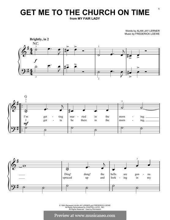 Get Me to the Church on Time: For piano by Frederick Loewe