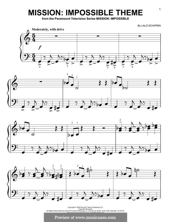 Mission: Impossible Theme: For piano by Lalo Schifrin
