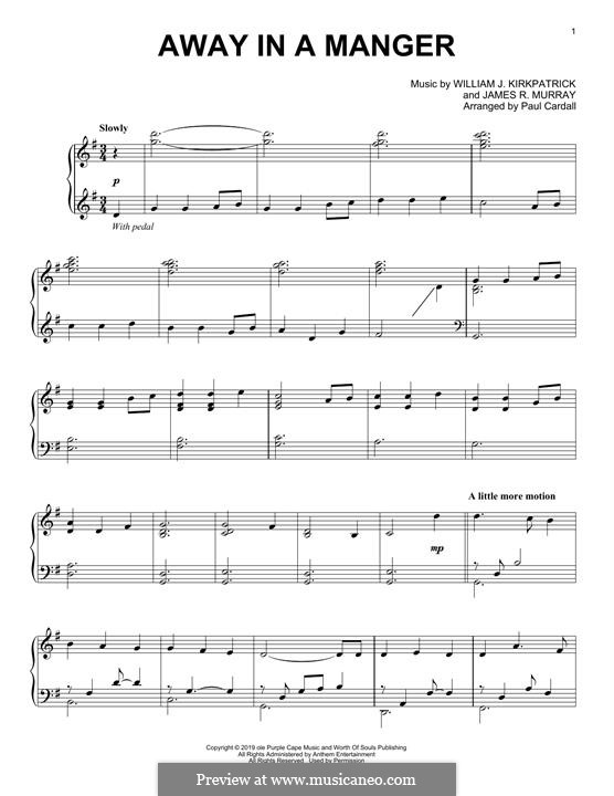 Away in a Manger (Printable Scores): For piano by James R. Murray