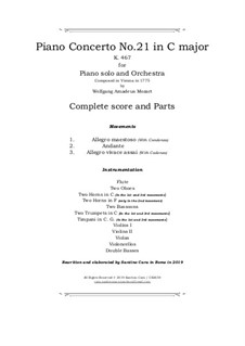 Concerto for Piano and Orchestra No.21 in C Major, K.467: Score and parts by Wolfgang Amadeus Mozart