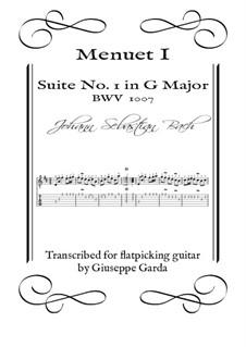 Suite for Cello No.1 in G Major, BWV 1007: Menuet I. Arrangement for acoustic guitar (flatpicking) by Johann Sebastian Bach